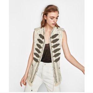 Zara Shiny Waistcoat Embroidered Beaded Vest
